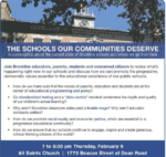 Postponed by Snow! New Date, Wed. March 15: The Schools Our Communities Deserve